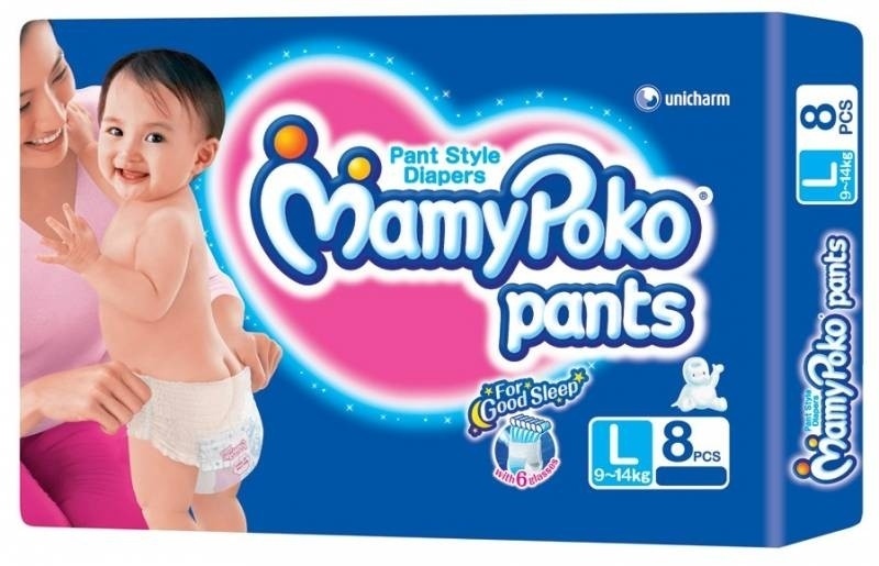 mamy poko pants pant style diapers large 8 pieces 9 14kg