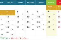 Lịch nghỉ lễ tháng 4-2016 theo quy định của nhà nước