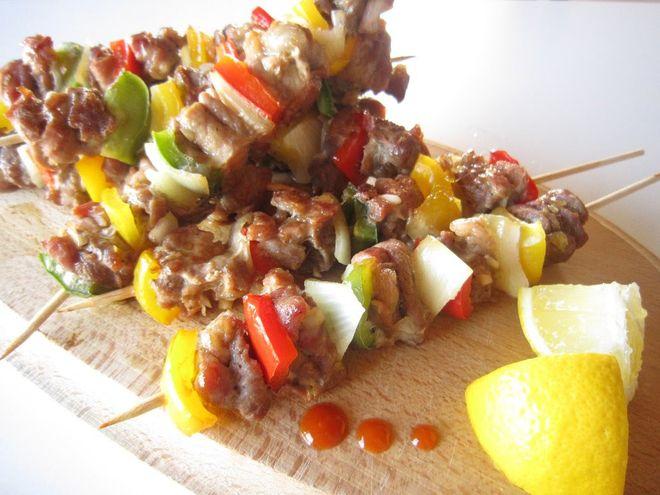 thịt xiên nướng rau củ
