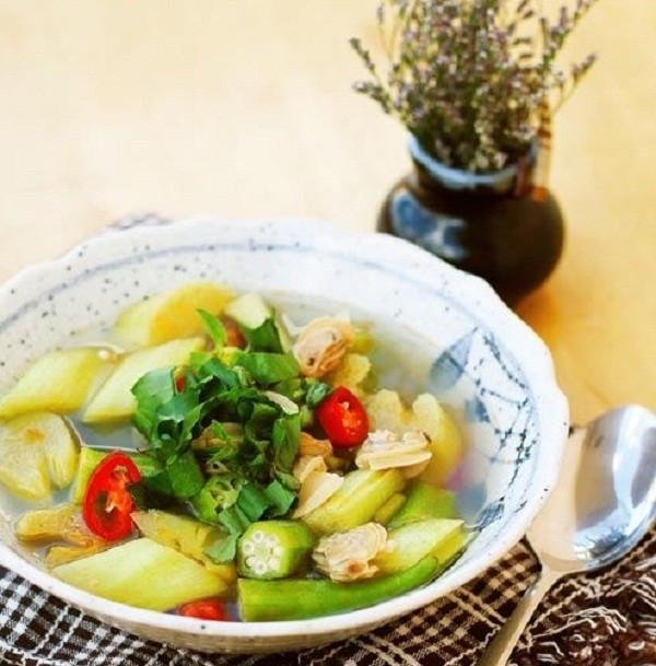 canh ngao nấu dọc mùng chua ngon.