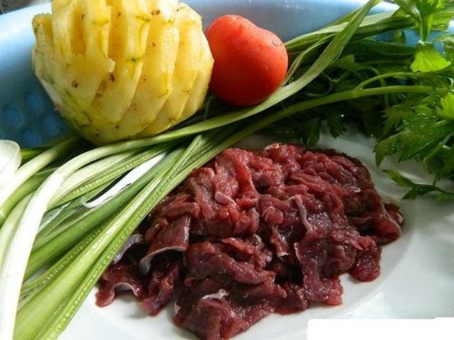 nguyên liệu nấu canh chua thịt bò