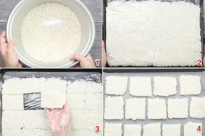 cắt cơm thành từng lát vuông