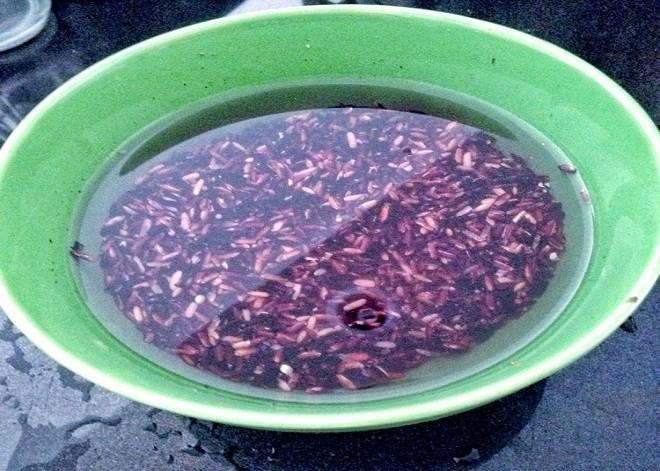 ngâm gạo nếp cẩm với nước