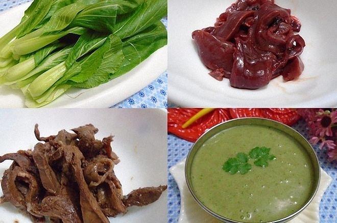nguyên liệu nấu cháo tim heo rau cải