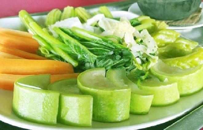 bí đao và rau quả luộc