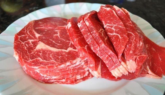 thịt bò rửa sạch, thái miếng