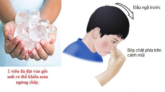 ngăn không cho máu tiếp tục chảy bằng cách bóp chặt mũi bé
