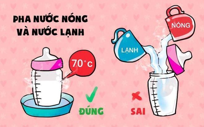 cách pha sữa cho con