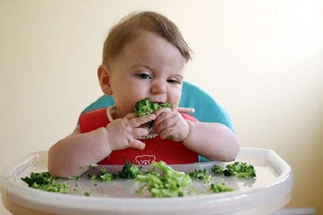 bé ngồi trên ghế và tập ăn súp lơ xanh