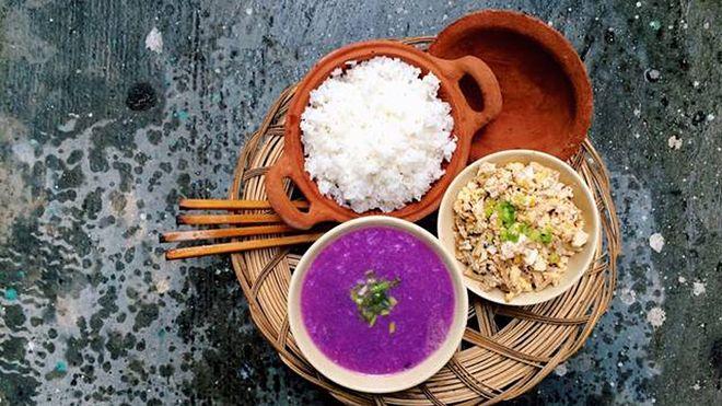 canh khoai mỡ ăn cùng cơm