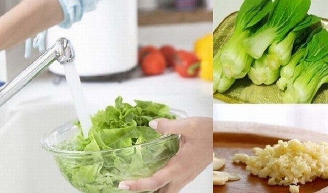 rửa rau cải