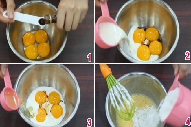 tiến hành trộn lòng đỏ trứng gà