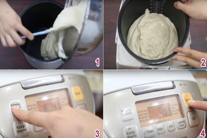 bắt đầu nướng bánh trong nồi cơm điện