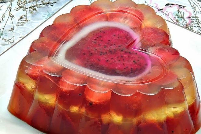 rau câu trái cây hình trái tim