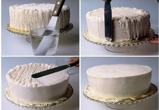 dùng dao chà láng bánh kem