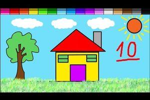Vẽ Tranh Ngôi Nhà - Tô Màu Ngôi Nhà - Bé Tô Màu
