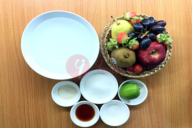 Nguyên liệu làm bánh trung thu rau câu nhân trái cây tươi