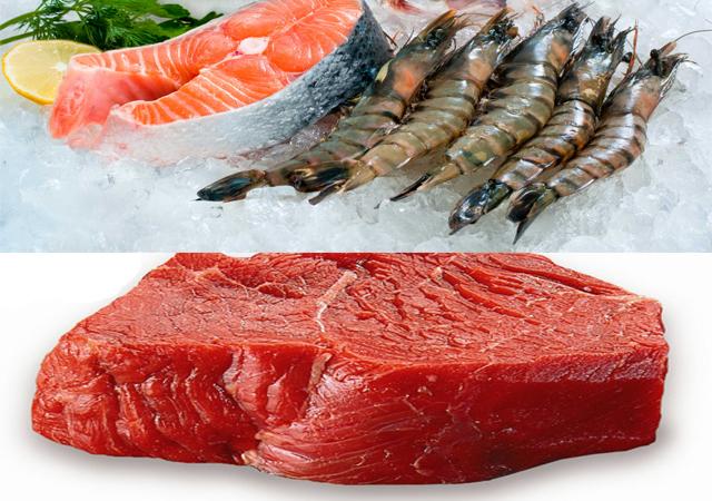 thịt nạc và hải sản