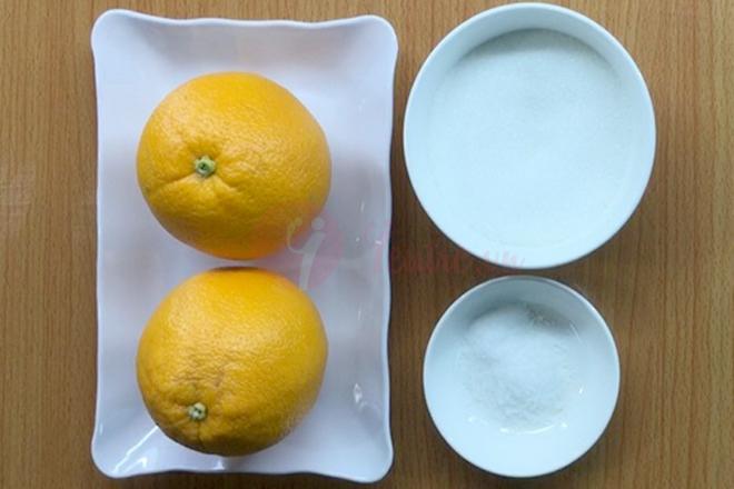Nguyên liệu làm mứt vỏ cam khô rất đơn giản.