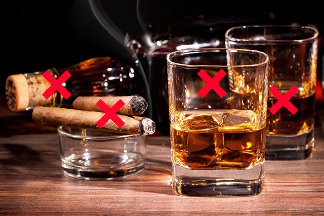 Hạn chế thói quen xấu như uống rượu hút thuốc lá