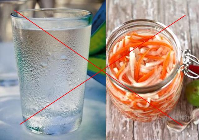 không ăn đồ chua và uống nước đá