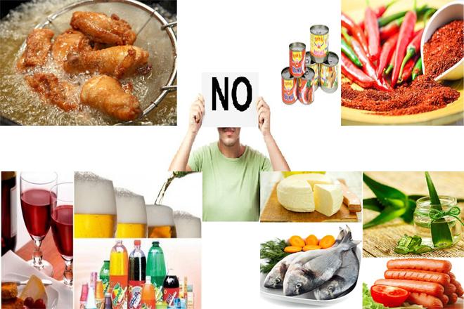 thức ăn nên tránh