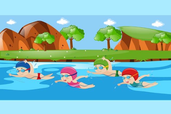Trẻ đang bơi