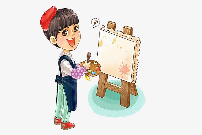 bé học vẽ
