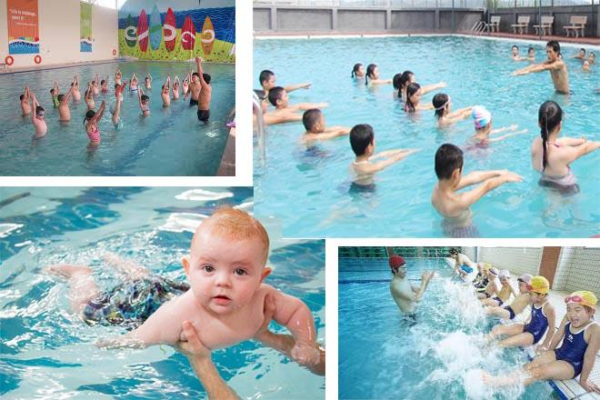 bé học bơi