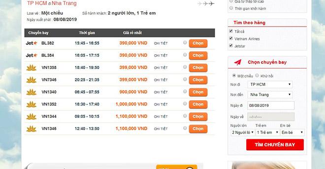 Đặt vé máy bay Tp HCM đi Nha Trang