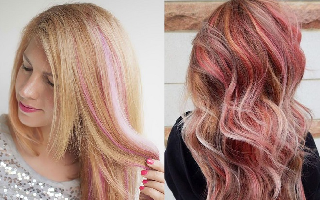 tóc highlight hồng vàng