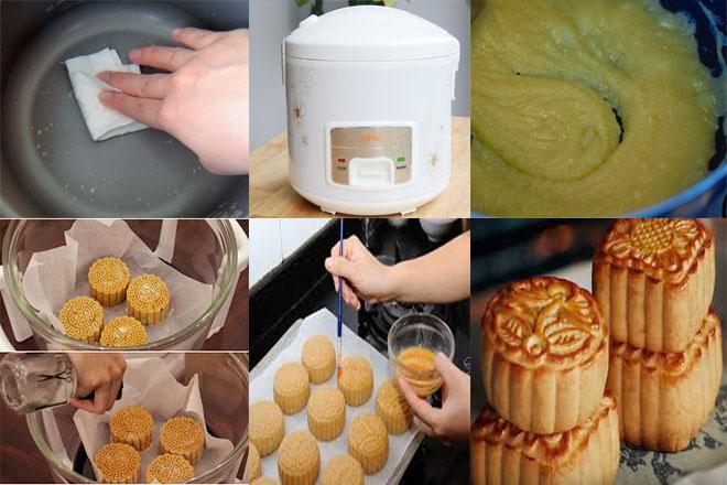 làm bánh trung thu bằng nồi cơm điện
