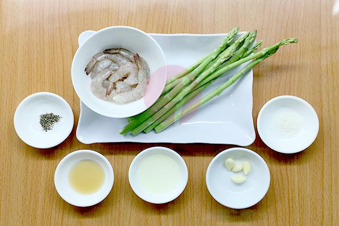 Nguyên liệu tôm xào măng tây