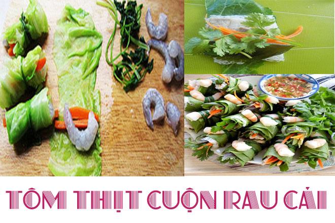 tôm thịt cuộn rau cải