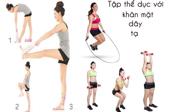 tập thể dục với các dụng cụ