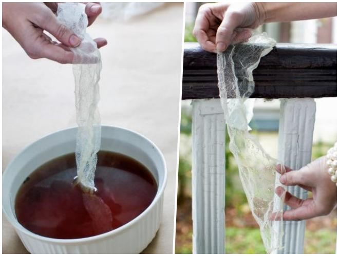 Ngâm vải qua nước trà và để qua đêm