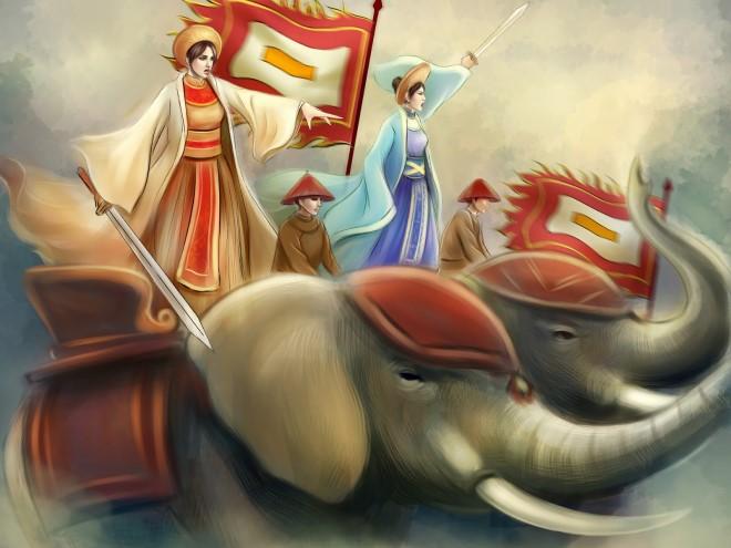 Hai Bà Trưng là những bậc nữ anh hùng kỳ tài trong lịch sử chống giặc ngoại xâm