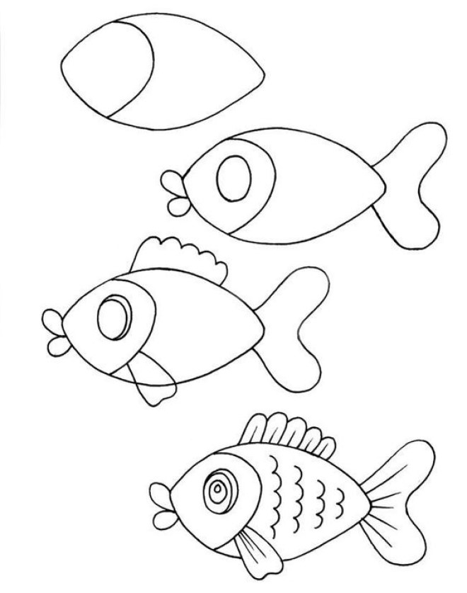 Cách vẽ hình con cá 1