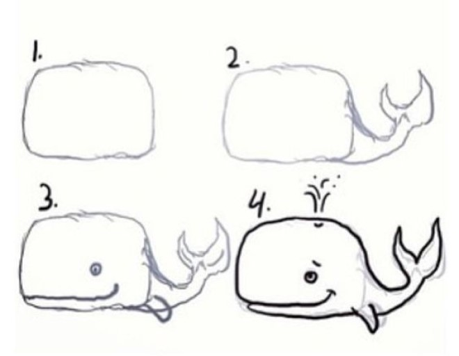 Cách vẽ hình cá voi xanh