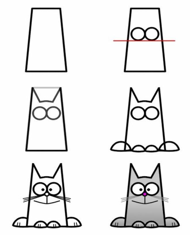 Cách vẽ hình chú mèo 1