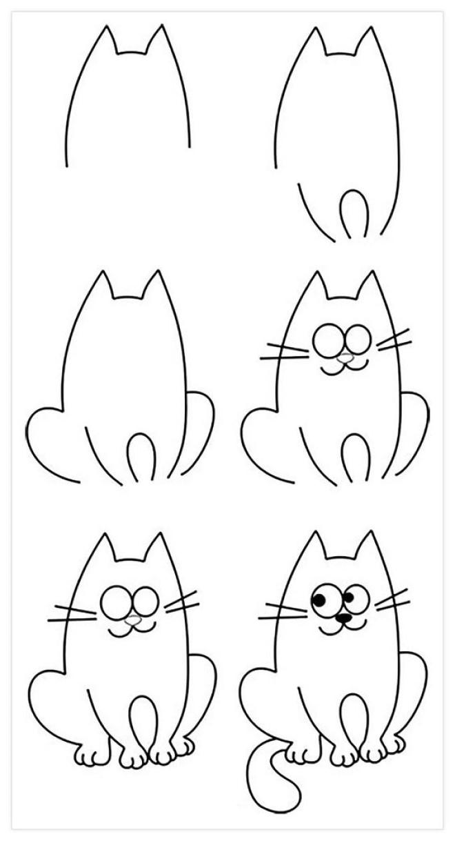 Cách vẽ hình chú mèo 2