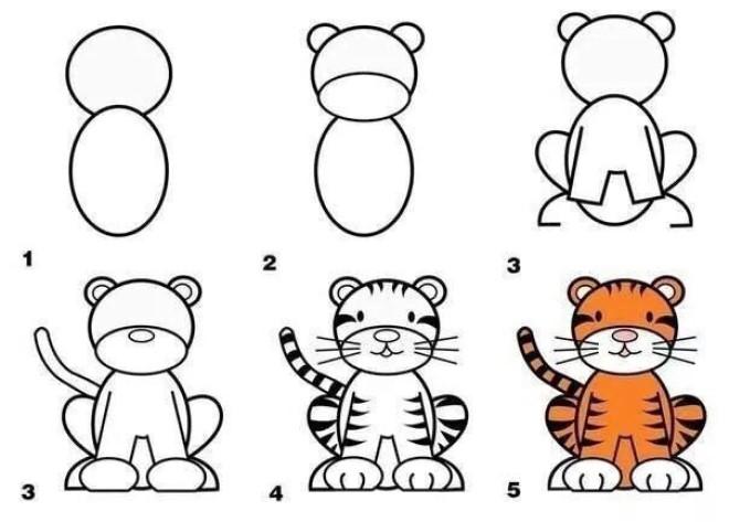 Cách vẽ hình con hổ