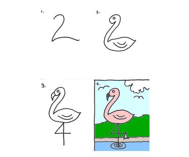 Vẽ hình con hồng hạc bằng chữ số