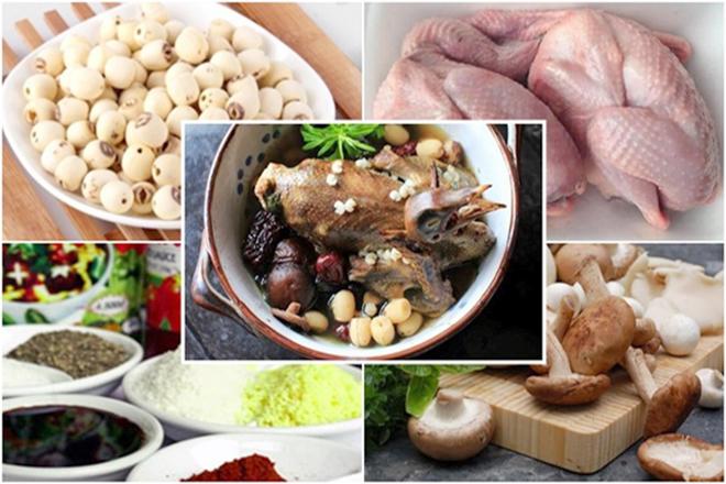 Nguyên liệu nấu bồ câu hầm hạt sen