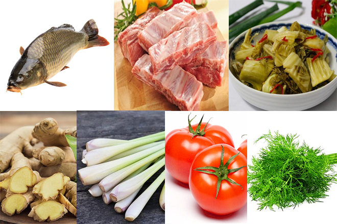 Nguyên liệu nấu lẩu cá chép cải chua