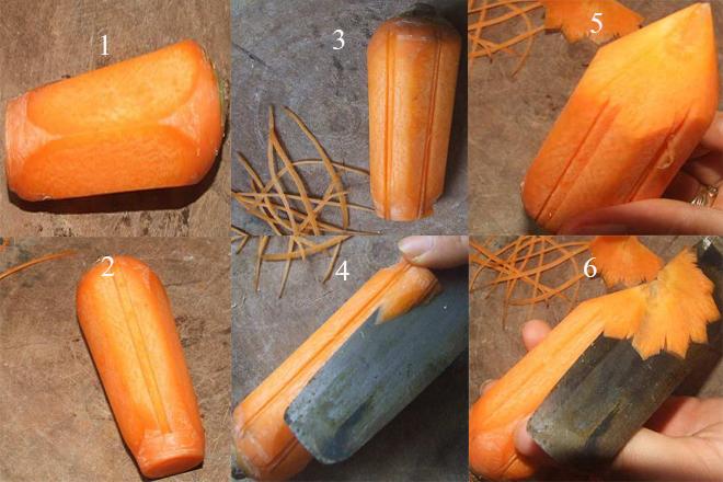 Cách làm hoa cà rốt xoay