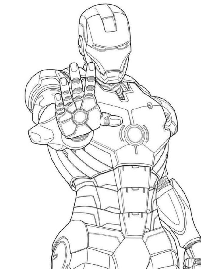 Tranh tô màu Người Sắt Iron man. Ảnh Internet