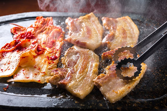 kim chi ăn thịt nướng