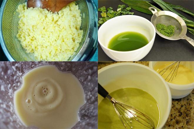 Xay đậu và lọc nước lá dứa