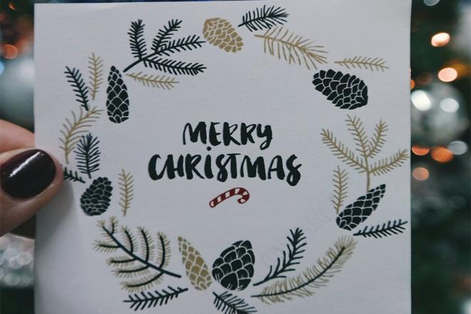 Thiệp Giáng sinh vòng nguyệt quế